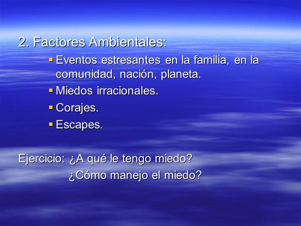 2. Factores Ambientales: Eventos estresantes en la familia, en la comunidad, nación, planeta. Eventos estresantes en la familia, en la comunidad, naci