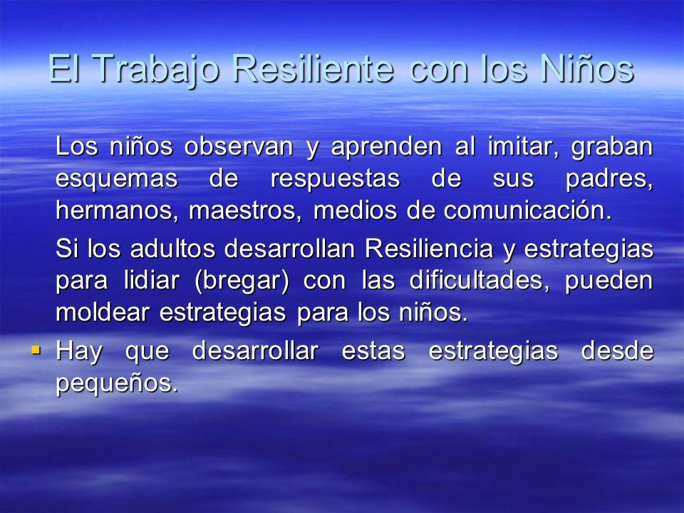 El Trabajo Resiliente con los Niños Los niños observan y aprenden al imitar, graban esquemas de respuestas de sus padres, hermanos, maestros, medios d