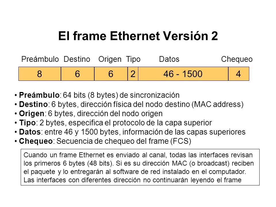 §El corazón del sistema Ethernet es el frame Ethernet utilizado para llevar datos entre los computadores. El frame consta de varios bits organizados e