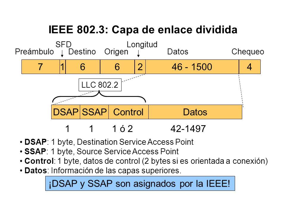 Capa de enlace en IEEE 802 §Divide la capa de enlace en dos subcapas distintas: MAC y LLC §Subcapa MAC: Direcciones físicas origen y destino de los no