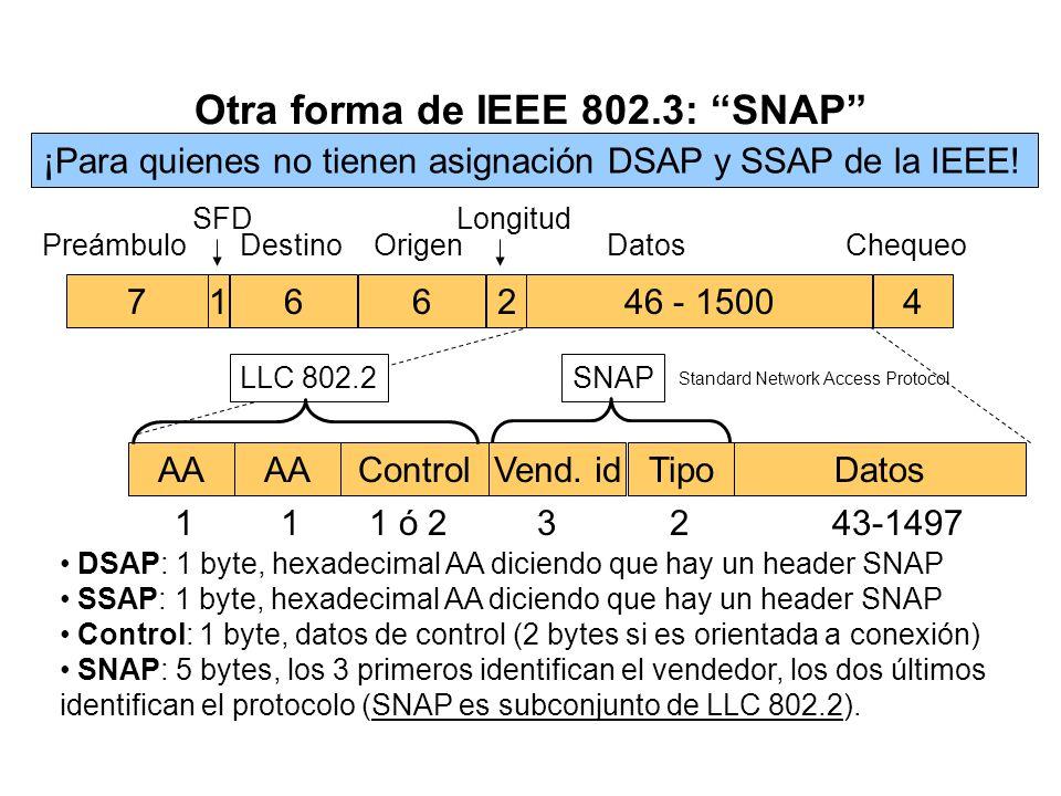 Códigos de tipo Ethernet y SAP Tipos Ethernet (Xerox) Netware8137 XNS0600, 0807 IP0800 ARP0806 RARP8035 SAP (IEEE) NetWare10,E0 XNS80 NetBIOSF0 IP06 S