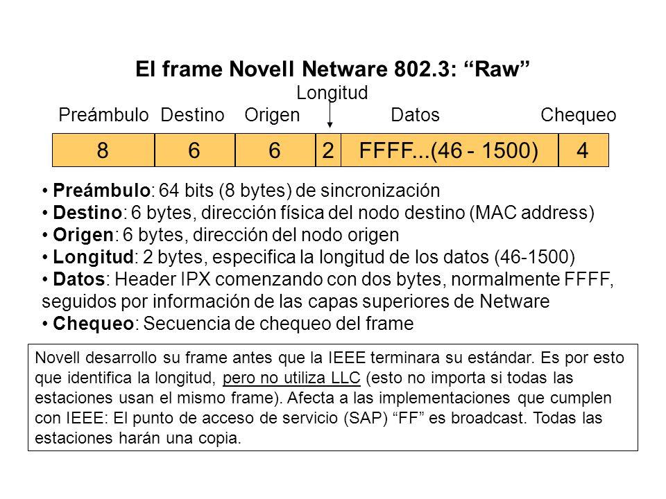 Otra forma de IEEE 802.3: SNAP 6624 DestinoOrigen Longitud DatosChequeo 46 - 15007 Preámbulo 1 SFD AAControlDatosAA 111 ó 243-1497 DSAP: 1 byte, hexad
