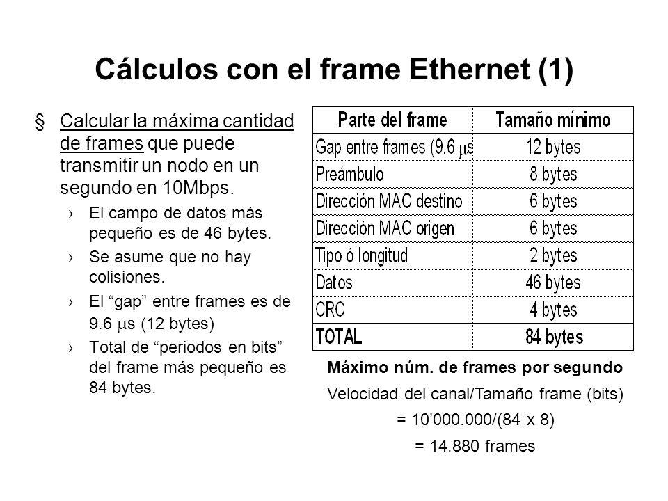 El frame Novell Netware 802.3: Raw 6624 DestinoOrigen Longitud DatosChequeo Preámbulo: 64 bits (8 bytes) de sincronización Destino: 6 bytes, dirección