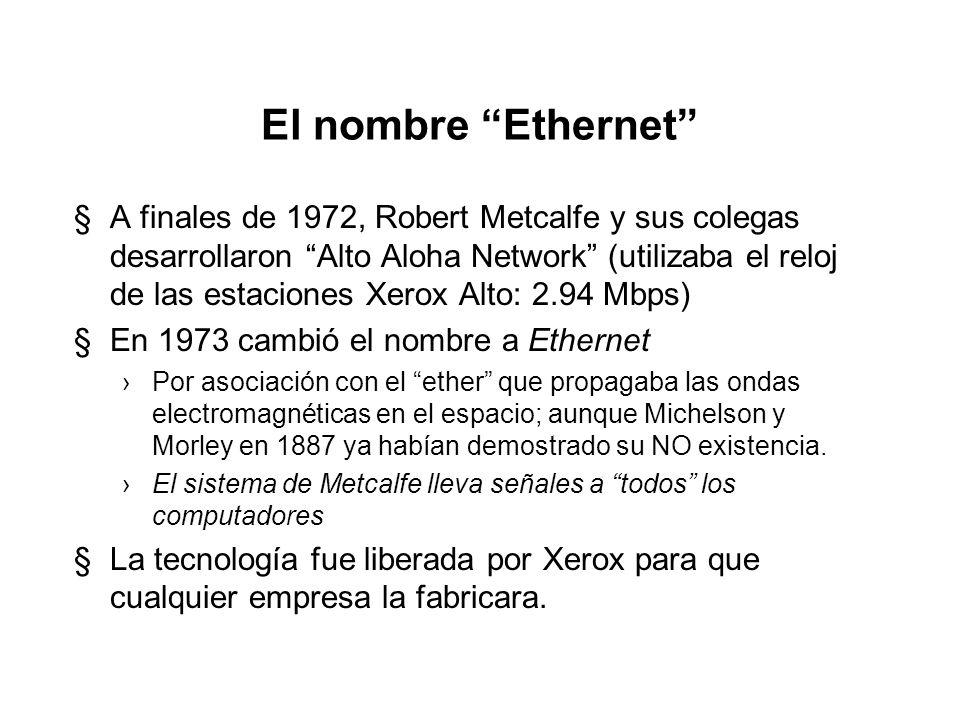 El nombre Ethernet §A finales de 1972, Robert Metcalfe y sus colegas desarrollaron Alto Aloha Network (utilizaba el reloj de las estaciones Xerox Alto: 2.94 Mbps) §En 1973 cambió el nombre a Ethernet Por asociación con el ether que propagaba las ondas electromagnéticas en el espacio; aunque Michelson y Morley en 1887 ya habían demostrado su NO existencia.