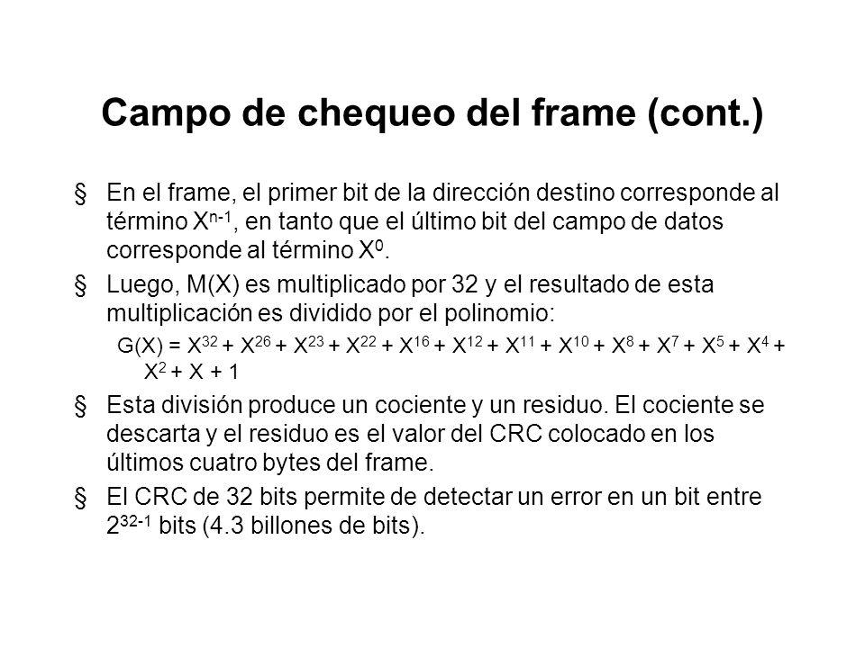Campo de chequeo del frame §El campo de secuencia de chequeo del frame (FCS), aplicable tanto a Ethernet como al estándar IEEE 802.3, proporciona un m