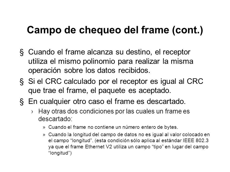 Campo de chequeo del frame (cont.) §En el frame, el primer bit de la dirección destino corresponde al término X n-1, en tanto que el último bit del ca