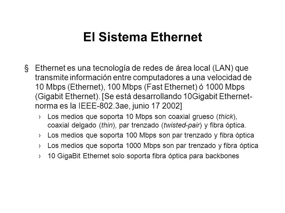 El Sistema Ethernet §Ethernet es una tecnología de redes de área local (LAN) que transmite información entre computadores a una velocidad de 10 Mbps (Ethernet), 100 Mbps (Fast Ethernet) ó 1000 Mbps (Gigabit Ethernet).