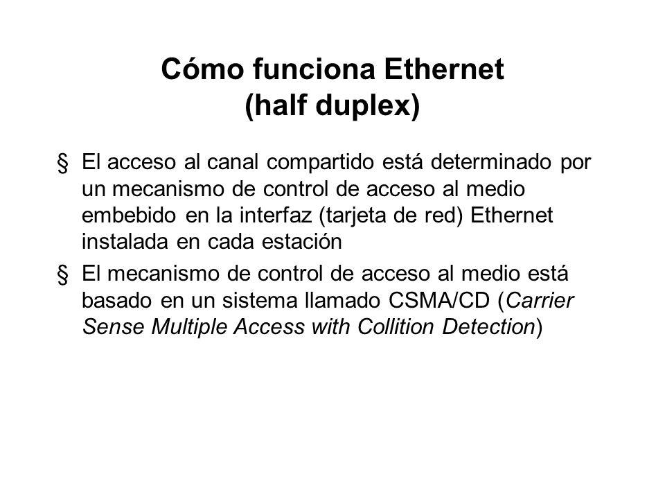 Cómo funciona Ethernet (half duplex) §No hay control central (cada computador opera independientemente) §Las señales son transmitidas serialmente (un
