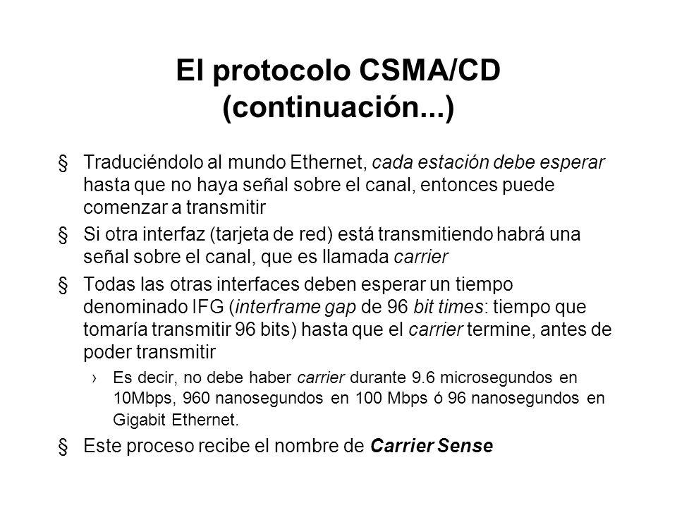 El protocolo CSMA/CD §CSMA/CD funciona como una conversación alrededor de una mesa en un cuarto oscuro. §Antes de hablar, cualquier participante debe