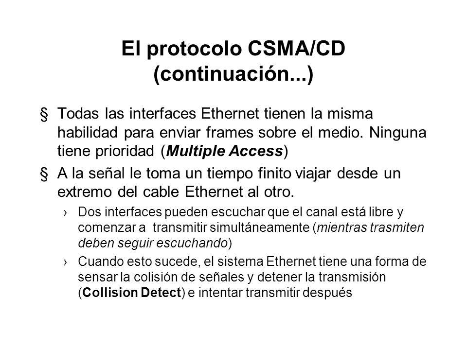 El protocolo CSMA/CD (continuación...) §Traduciéndolo al mundo Ethernet, cada estación debe esperar hasta que no haya señal sobre el canal, entonces p