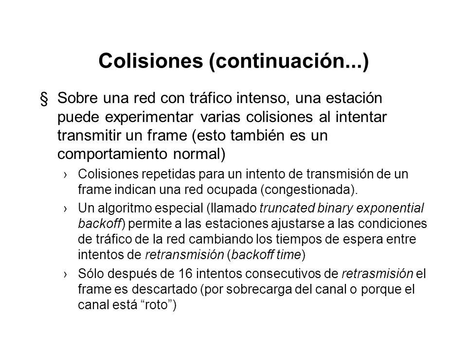 Colisiones (continuación...) §Las colisiones son normales dentro del método de acceso al medio e indican que el protocolo CSMA/CD está funcionado como