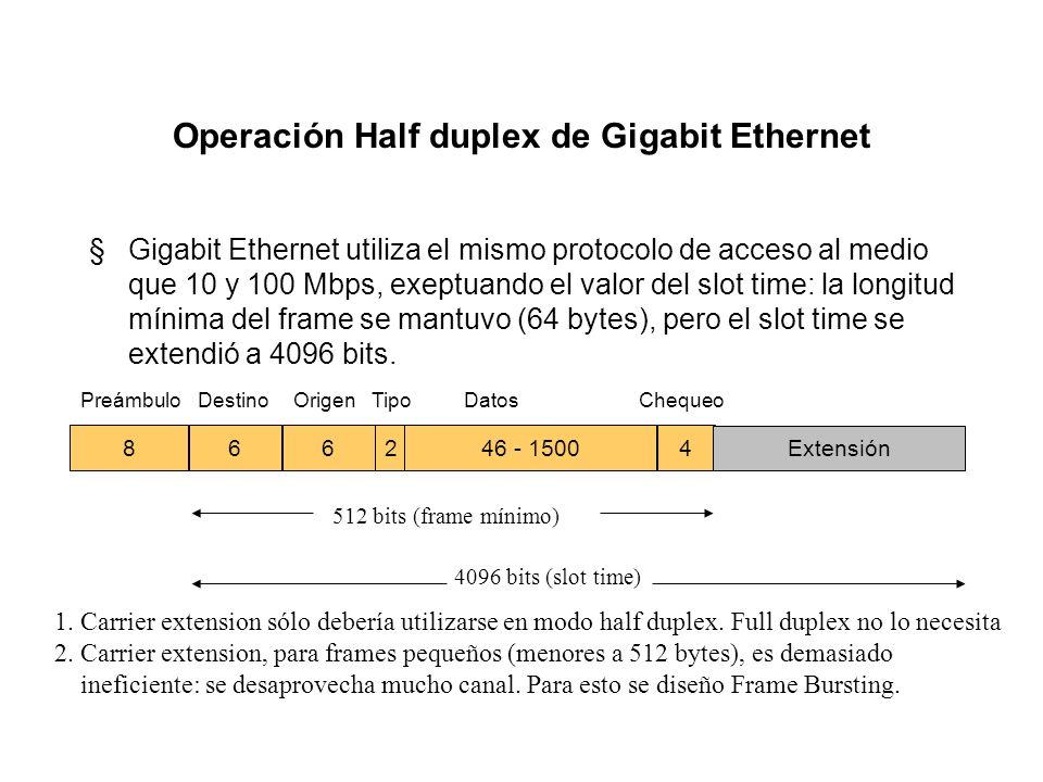Slot time y el diámetro de la red §La máxima longitud de los cables en una red Ethernet (es decir, el máximo diámetro) y el slot time están muy relaci