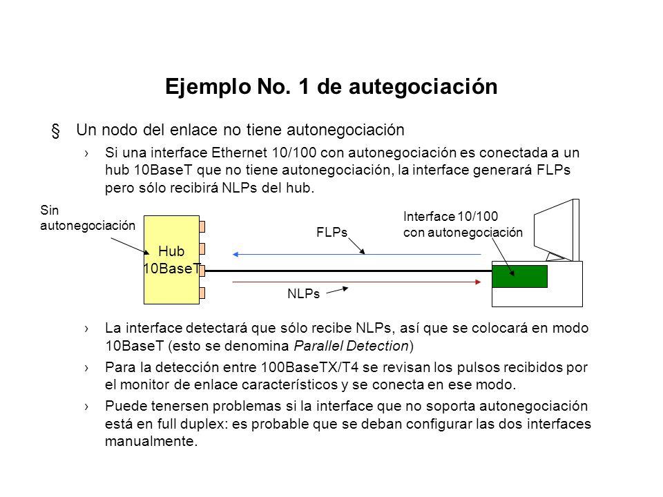 Mensaje base de autonegociación §Los bits de D0 a D4 -selector field- indican la tecnología LAN utilizada (1,0,0,0,0 es Ethernet) §Los bits de D5 a D1
