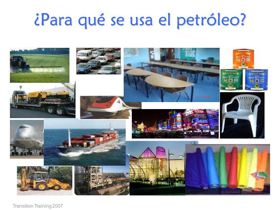 Transition Training 2007 ¿Para qué se usa el petróleo? Transition Training 2007