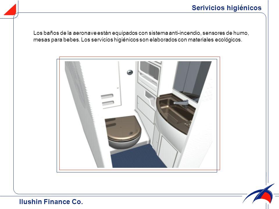 Serivicios higiénicos Los baños de la aeronave están equipados con sistema anti-incendio, sensores de humo, mesas para bebes. Los servicios higiénicos