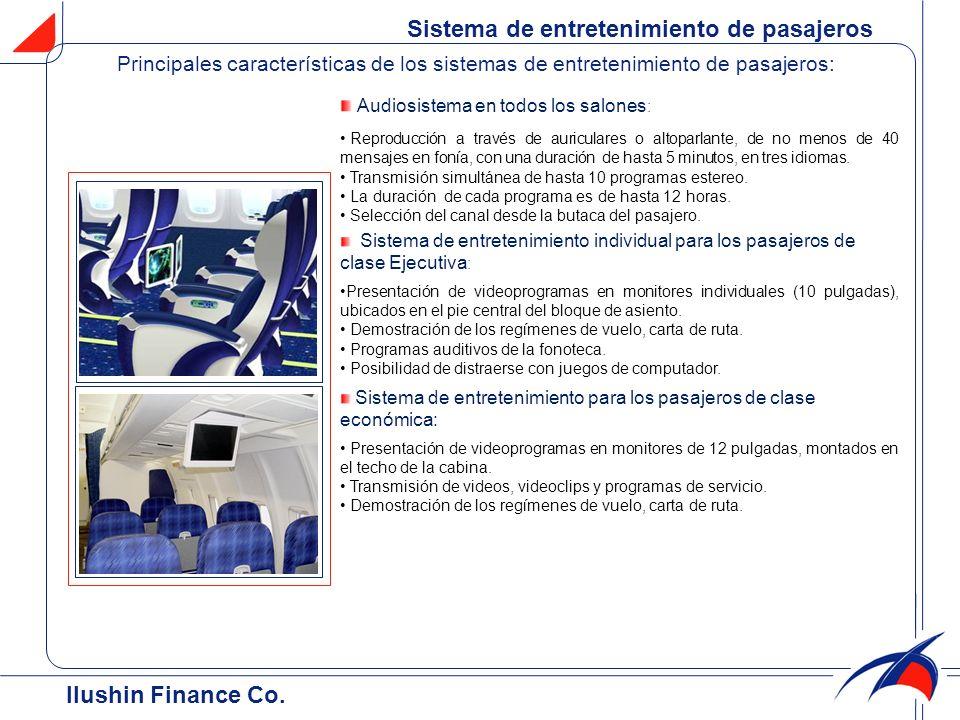 Sistema de entretenimiento de pasajeros Audiosistema en todos los salones : Reproducción a través de auriculares o altoparlante, de no menos de 40 men
