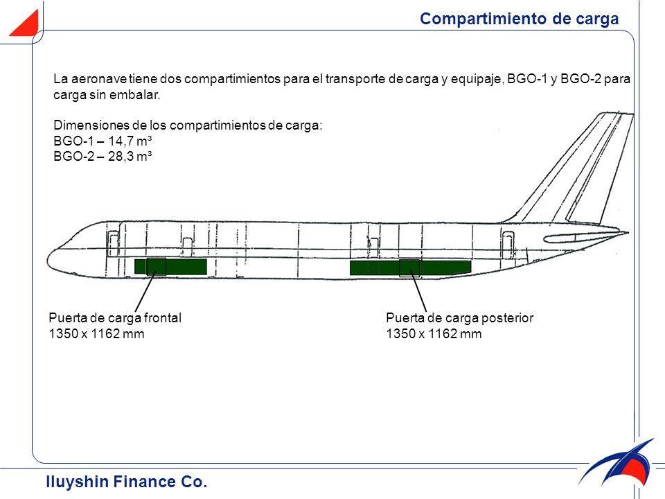 La aeronave tiene dos compartimientos para el transporte de carga y equipaje, BGO-1 y BGO-2 para carga sin embalar. Dimensiones de los compartimientos