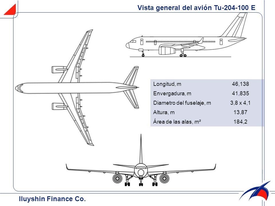 Vista general del avión Tu-204-100 E Iluyshin Finance Co. Longitud, m46,138 Envergadura, m41,835 Diametro del fuselaje, m3,8 x 4,1 Altura, m13,87 Área