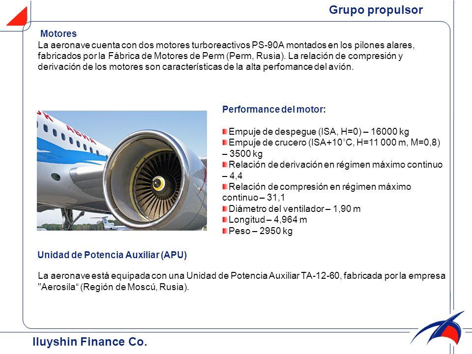 Iluyshin Finance Co. Motores La aeronave cuenta con dos motores turboreactivos PS-90A montados en los pilones alares, fabricados por la Fábrica de Mot