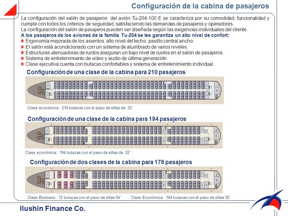 Configuración de la cabina de pasajeros Ilushin Finance Cо. La configuración del salón de pasajeros del avión Tu-204-100 Е se caracteriza por su comod