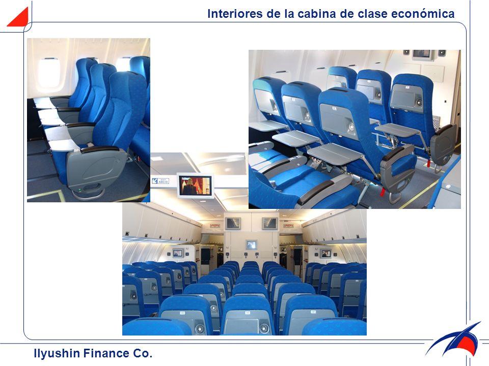 Interiores de la cabina de clase económica Ilyushin Finance Co.