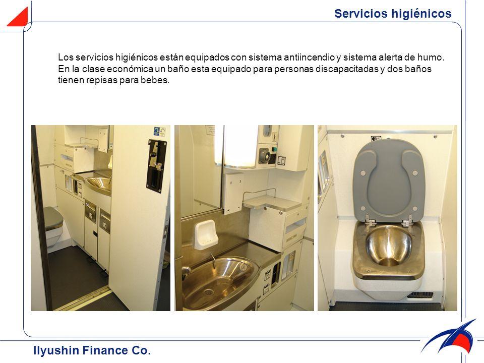 Los servicios higiénicos están equipados con sistema antiincendio y sistema alerta de humo. En la clase económica un baño esta equipado para personas