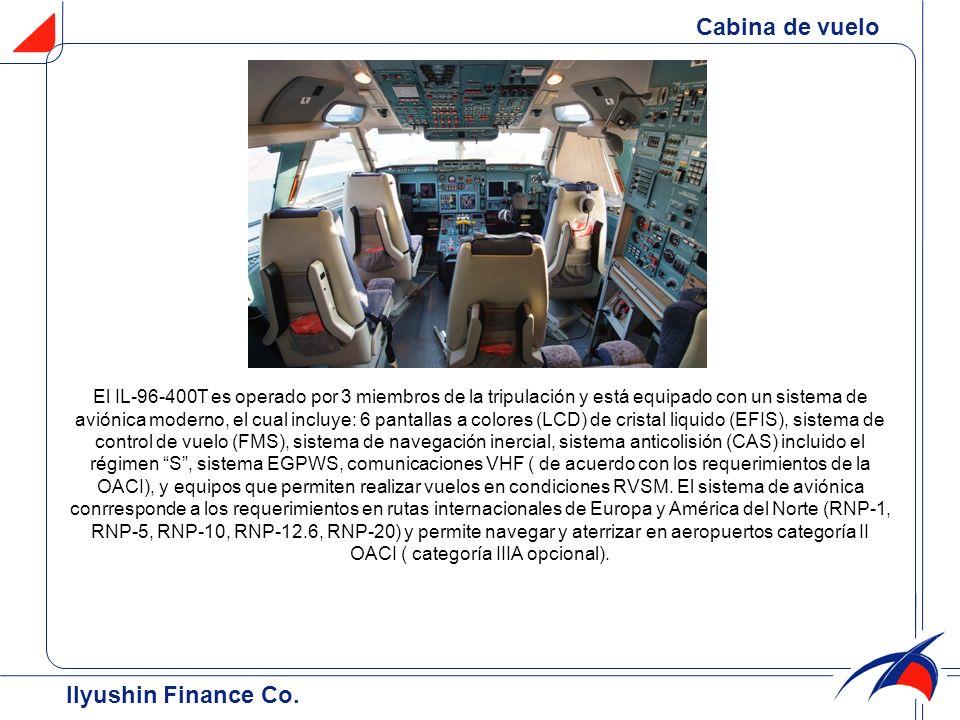 El IL-96-400T es operado por 3 miembros de la tripulación y está equipado con un sistema de aviónica moderno, el cual incluye: 6 pantallas a colores (