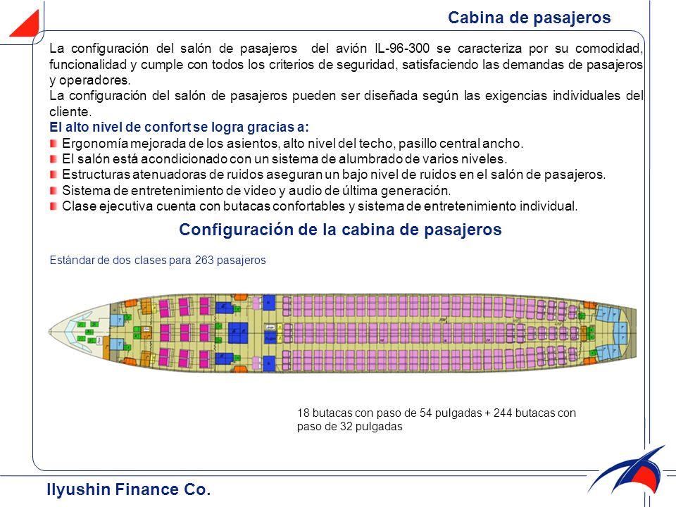 Cabina de pasajeros Configuración de la cabina de pasajeros Estándar de dos clases para 263 pasajeros 18 butacas con paso de 54 pulgadas + 244 butacas