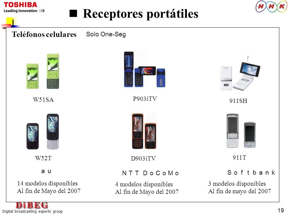 Digital broadcasting experts group 19 Receptores portátiles 911SH 911T P903iTV W51SA D903iTV W52T Solo One-Seg Teléfonos celulares 14 modelos disponib