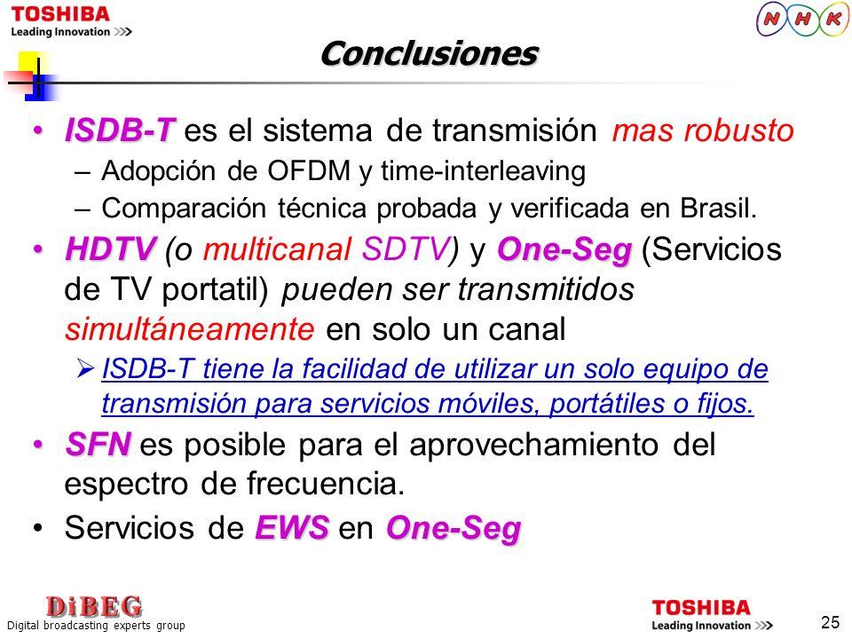 Digital broadcasting experts group 25 Conclusiones ISDB-TISDB-T es el sistema de transmisión mas robusto –Adopción de OFDM y time-interleaving –Compar