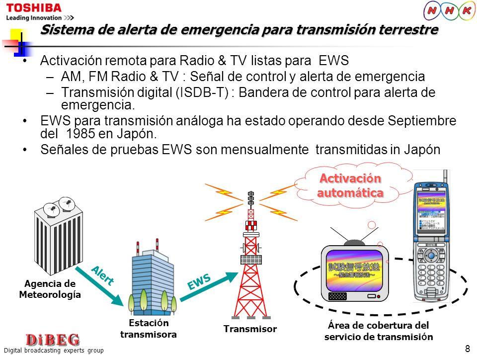Digital broadcasting experts group 8 Activación remota para Radio & TV listas para EWS –AM, FM Radio & TV : Señal de control y alerta de emergencia –T