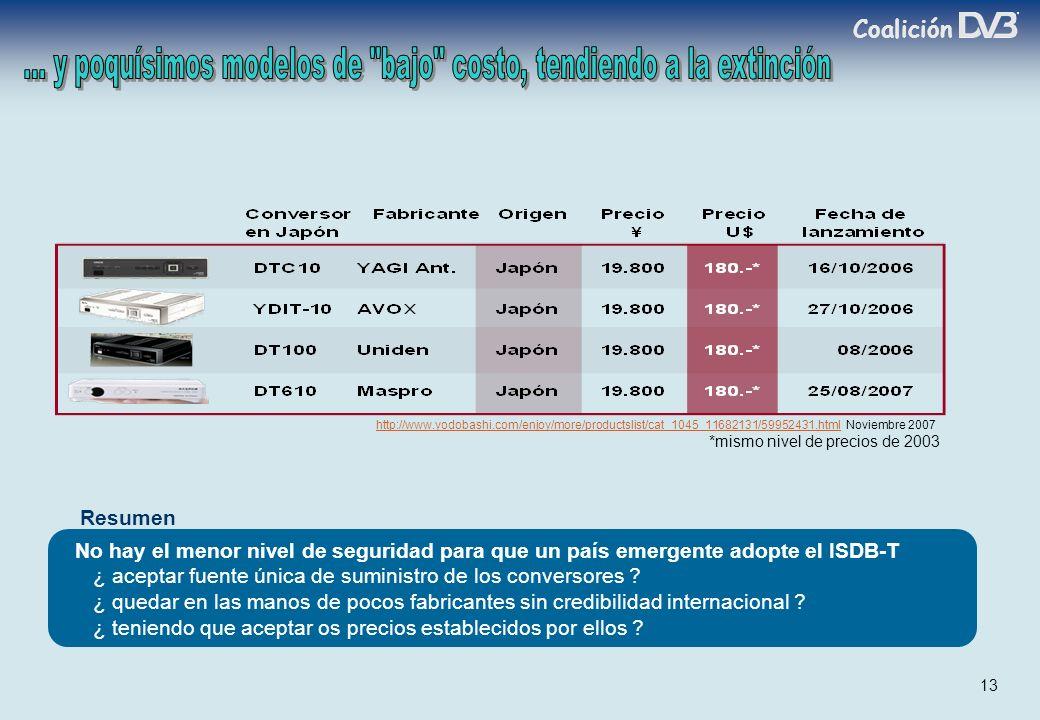 Coalición 13 http://www.yodobashi.com/enjoy/more/productslist/cat_1045_11682131/59952431.htmlhttp://www.yodobashi.com/enjoy/more/productslist/cat_1045_11682131/59952431.html Noviembre 2007 No hay el menor nivel de seguridad para que un país emergente adopte el ISDB-T ¿ aceptar fuente única de suministro de los conversores .