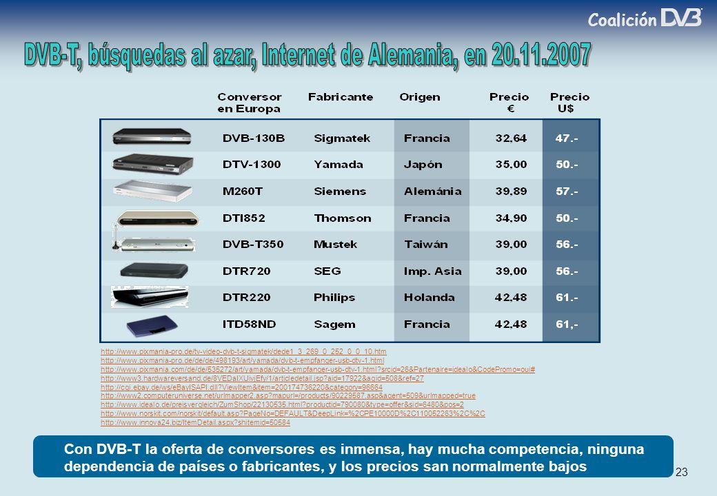 Coalición 23 Con DVB-T la oferta de conversores es inmensa, hay mucha competencia, ninguna dependencia de países o fabricantes, y los precios san normalmente bajos http://www.pixmania-pro.de/tv-video-dvb-t-sigmatek/dede1_3_269_0_252_0_0_10.htm http://www.pixmania-pro.de/de/de/498193/art/yamada/dvb-t-empfanger-usb-dtv-1.html http://www.pixmania.com/de/de/535272/art/yamada/dvb-t-empfanger-usb-dtv-1.html?srcid=26&Partenaire=idealo&CodePromo=oui# http://www3.hardwareversand.de/8VEDaIXUivjEfy/1/articledetail.jsp?aid=17922&agid=508&ref=27 http://cgi.ebay.de/ws/eBayISAPI.dll?ViewItem&item=200174736220&category=96664 http://www2.computeruniverse.net/urlmapper2.asp?mapurl=/products/90229587.asp&agent=509&urlmapped=true http://www.idealo.de/preisvergleich/ZumShop/22130535.html?productid=790080&type=offer&sid=6480&pos=2 http://www.norskit.com/norskit/default.asp?PageNo=DEFAULT&DeepLink=%2CPE10000D%2C110052263%2C%2C http://www.innova24.biz/ItemDetail.aspx?shitemid=50584
