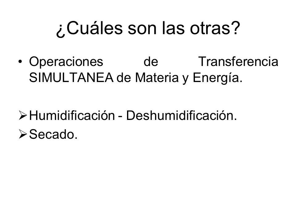 ¿Cuáles son las otras? Operaciones de Transferencia SIMULTANEA de Materia y Energía. Humidificación - Deshumidificación. Secado.