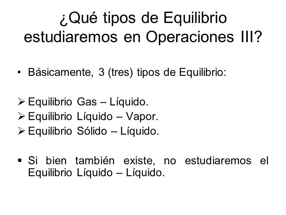 ¿Qué tipos de Equilibrio estudiaremos en Operaciones III? Básicamente, 3 (tres) tipos de Equilibrio: Equilibrio Gas – Líquido. Equilibrio Líquido – Va