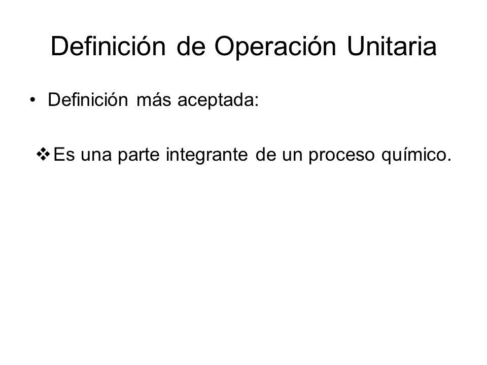 Definición de Operación Unitaria Definición más aceptada: Es una parte integrante de un proceso químico.