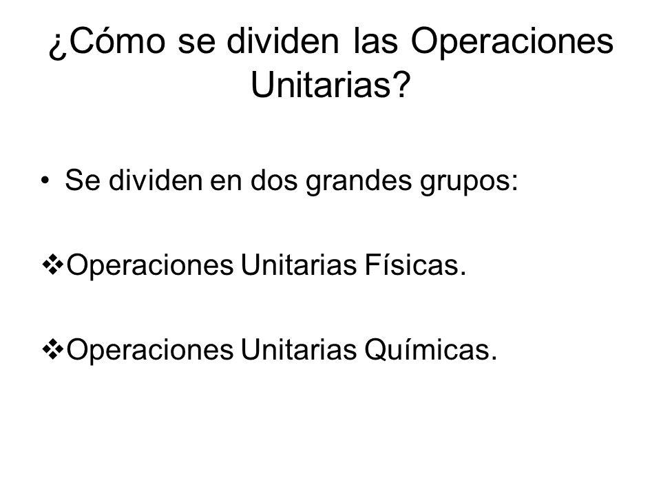 ¿Cómo se dividen las Operaciones Unitarias? Se dividen en dos grandes grupos: Operaciones Unitarias Físicas. Operaciones Unitarias Químicas.