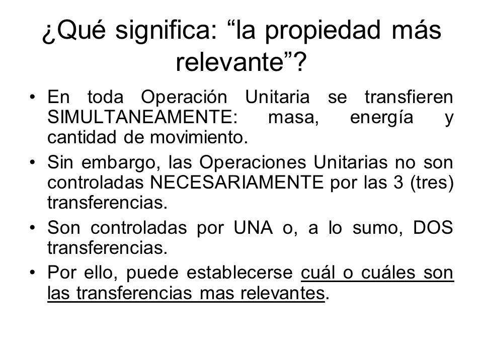 ¿Qué significa: la propiedad más relevante? En toda Operación Unitaria se transfieren SIMULTANEAMENTE: masa, energía y cantidad de movimiento. Sin emb