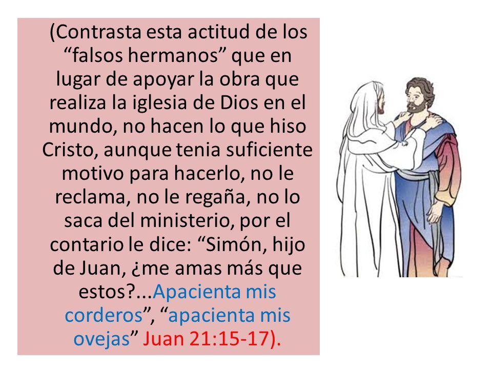 (Contrasta esta actitud de los falsos hermanos que en lugar de apoyar la obra que realiza la iglesia de Dios en el mundo, no hacen lo que hiso Cristo,