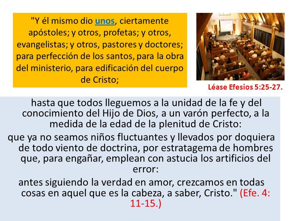 El Señor tiene sus agentes designados, (apóstoles; profetas; evangelistas; pastores y doctores; para perfección de los santos), una iglesia que ha sobrevivido persecuciones, conflictos y tinieblas.