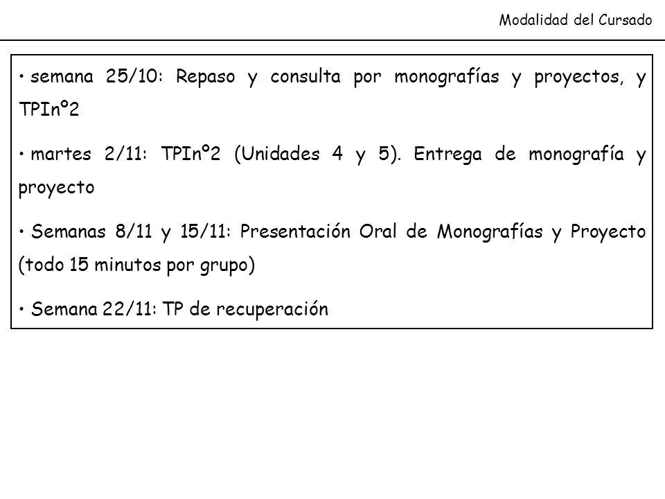 Modalidad del Cursado semana 25/10: Repaso y consulta por monografías y proyectos, y TPInº2 martes 2/11: TPInº2 (Unidades 4 y 5). Entrega de monografí