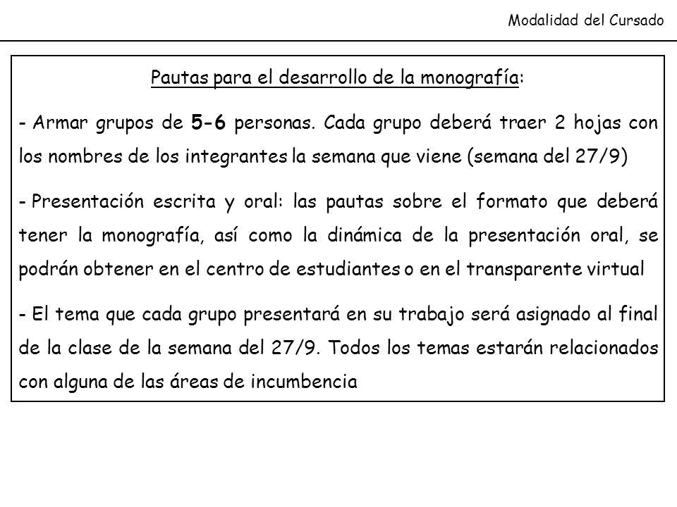 Modalidad del Cursado Pautas para el desarrollo de la monografía: - Armar grupos de 5-6 personas. Cada grupo deberá traer 2 hojas con los nombres de l