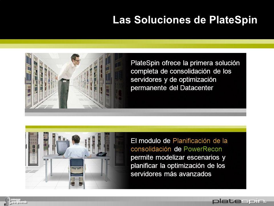 Las Soluciones de PlateSpin PlateSpin ofrece la primera solución completa de consolidación de los servidores y de optimización permanente del Datacent