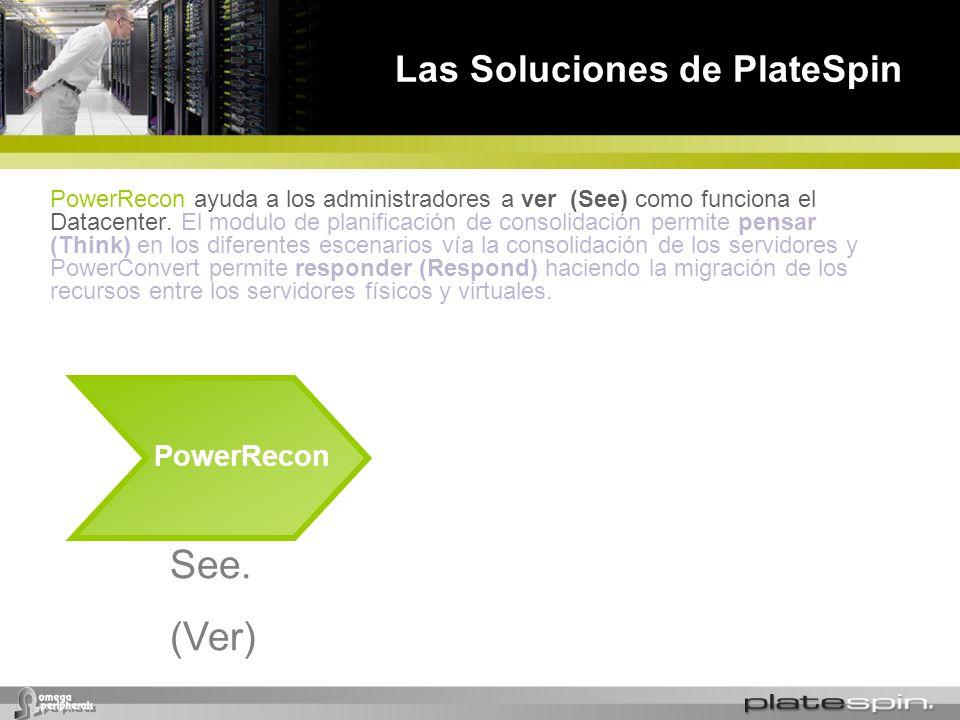 Las Soluciones de PlateSpin PowerRecon See. (Ver) PowerRecon ayuda a los administradores a ver (See) como funciona el Datacenter. El modulo de planifi