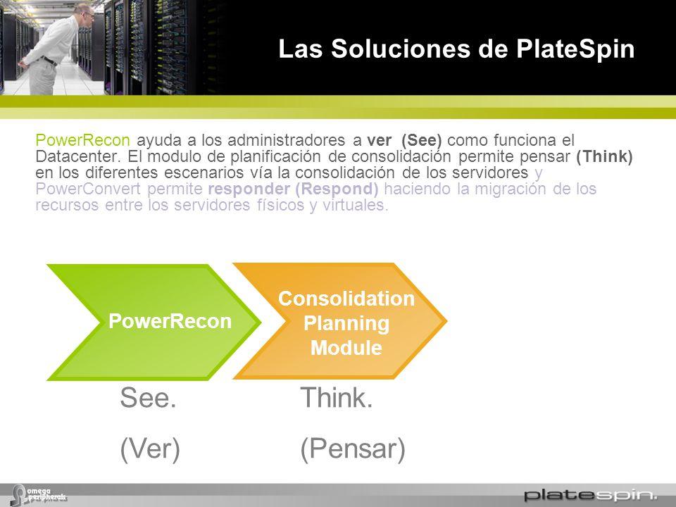Las Soluciones de PlateSpin PowerRecon Consolidation Planning Module See. (Ver) Think. (Pensar) PowerRecon ayuda a los administradores a ver (See) com