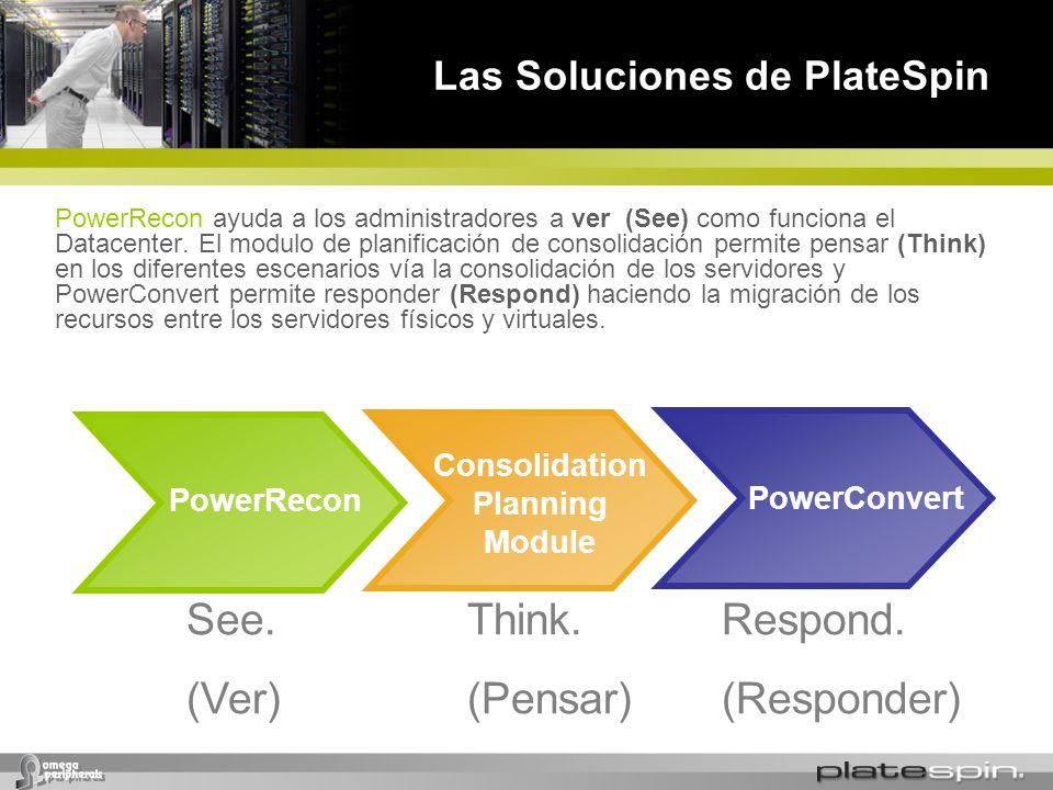 PowerRecon Consolidation Planning Module Las Soluciones de PlateSpin PowerConvert Respond. (Responder) PowerRecon ayuda a los administradores a ver (S