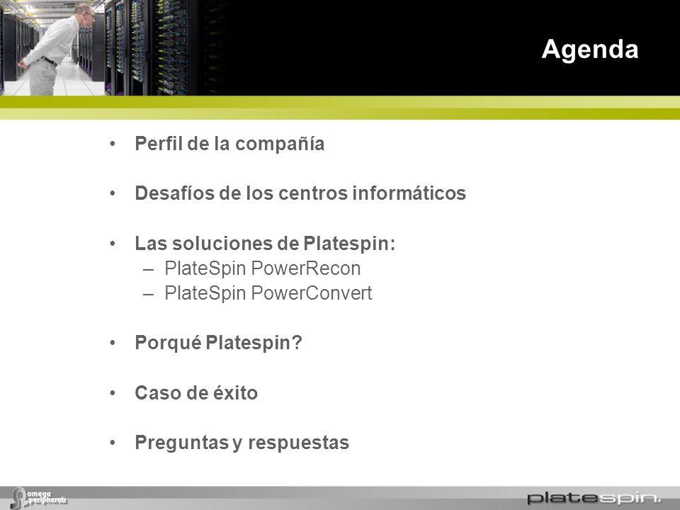 Agenda Perfil de la compañía Desafíos de los centros informáticos Las soluciones de Platespin: –PlateSpin PowerRecon –PlateSpin PowerConvert Porqué Pl