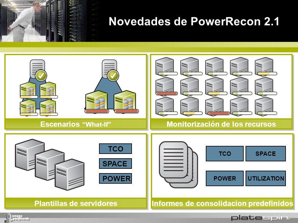 Novedades de PowerRecon 2.1 Monitorización de los recursosEscenarios What-If Plantillas de servidores TCO SPACE POWER Informes de consolidacion predef