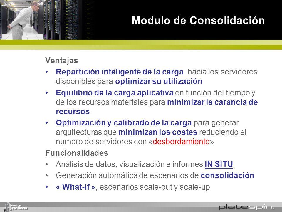 Modulo de Consolidación Ventajas Repartición inteligente de la carga hacia los servidores disponibles para optimizar su utilización Equilibrio de la c