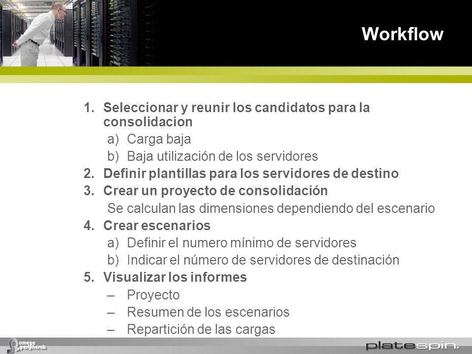 Workflow 1.Seleccionar y reunir los candidatos para la consolidacion a)Carga baja b)Baja utilización de los servidores 2.Definir plantillas para los s